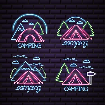 Camping trip logo in neon style