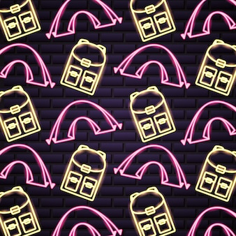 Camping trip in neon style pattern