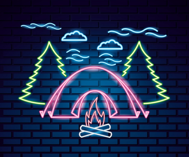 Camping trip in neon style