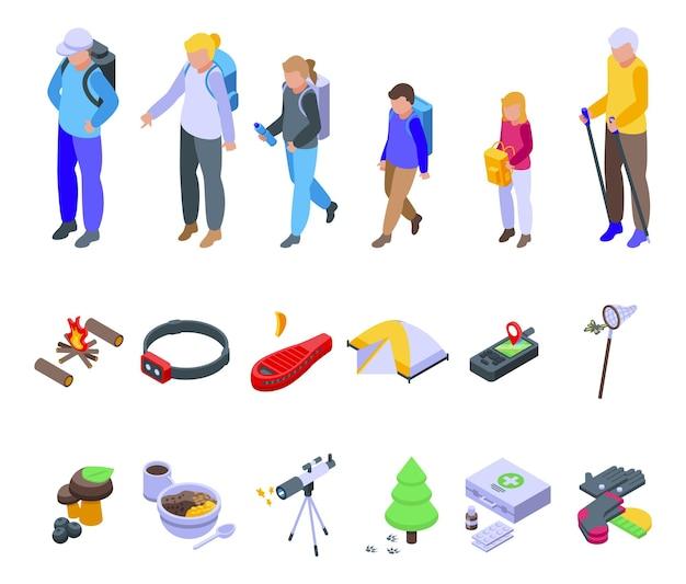 Кемпинг с детьми набор иконок изометрической вектор. детский лагерь. бойскаут