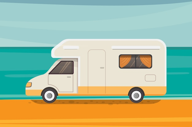 Camping on tropical beach. summer travel, camper trailer   illustration.