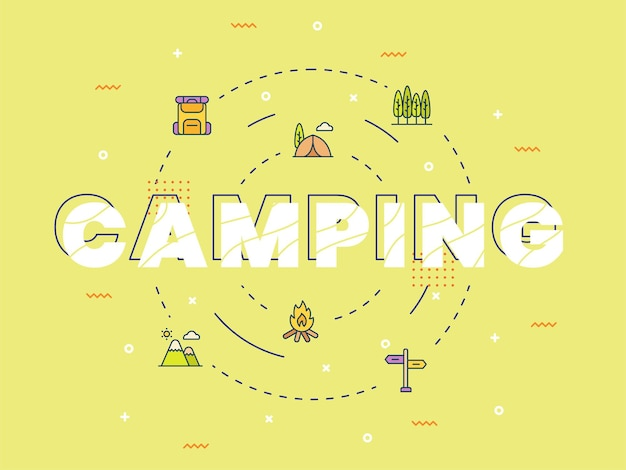 Camping typography calligraphy lettering word