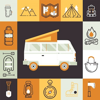 Camping van and isolated icons in outdoor activity collage