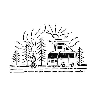 Camping van mountain illustration