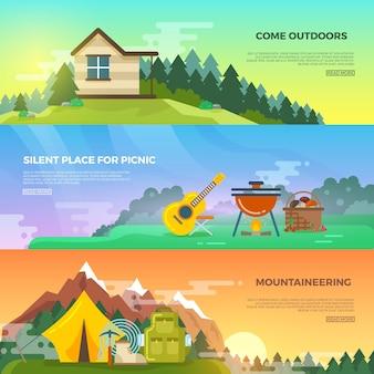 キャンプベクトルフラットバナーセット。冒険ハイキングバナー、旅行山バナー、テントとバックパック、観光登山バナーイラスト