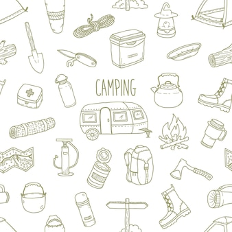 Camping vector hand drawn seamless pattern