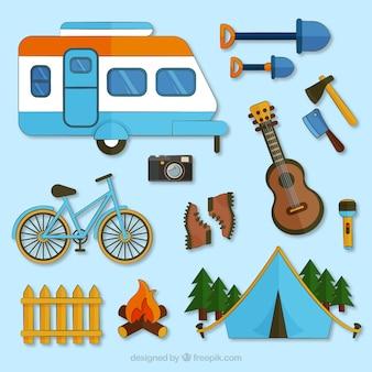 Camping vector set - hand drawn Free Vector