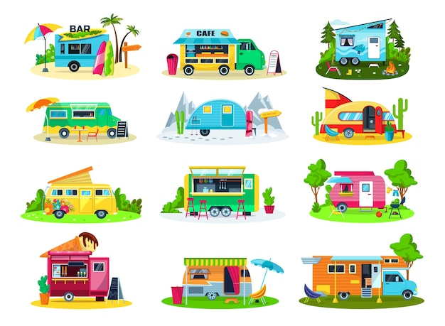 Camping vehicles icon set of illustrations