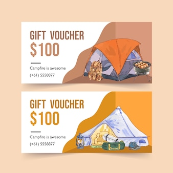 Camping voucher  with backpack, lantern and hiking boots  illustrations.