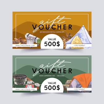 Camping voucher  with camp pot, tent, stove and food  illustrations.