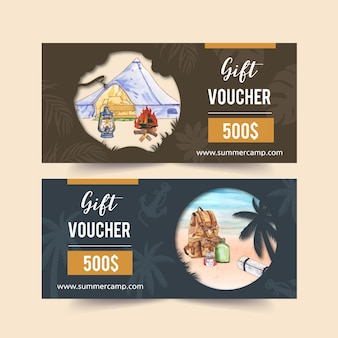 Camping voucher  with campfire, lantern, backpack and beach  illustrations