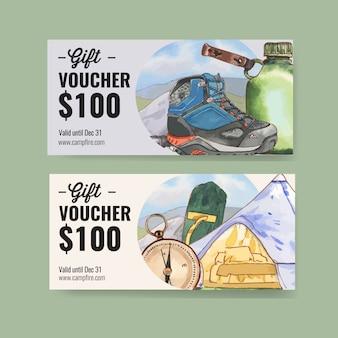 ハイキングブーツ、懐中電灯、山のイラスト付きのキャンプ券。