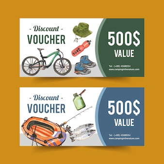 Camping voucher with hiking boots, rod and boat illustrations.