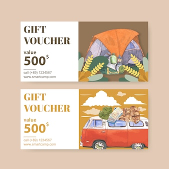 Camping voucher  with lantern, tent, van and backpack  illustrations