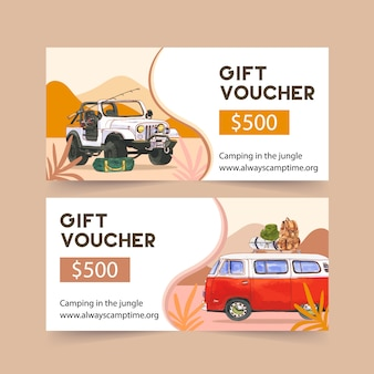 Camping voucher  with rod, car, tent and bucket hat  illustrations.
