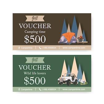 Туристический ваучер с палаткой, грилем и автомобильными иллюстрациями.