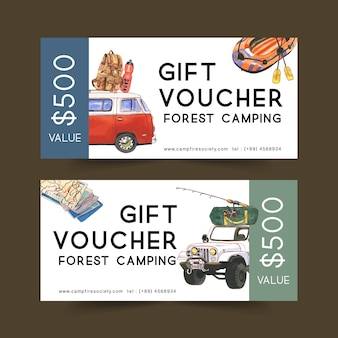 Camping voucher  with van, backpack and boat  illustrations.