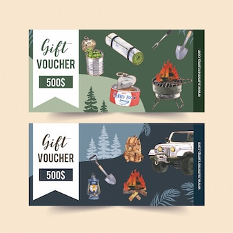Camping voucher  with van, food, backpack and shovel  illustrations.