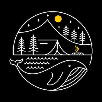 Camping on a whale Premium Vector