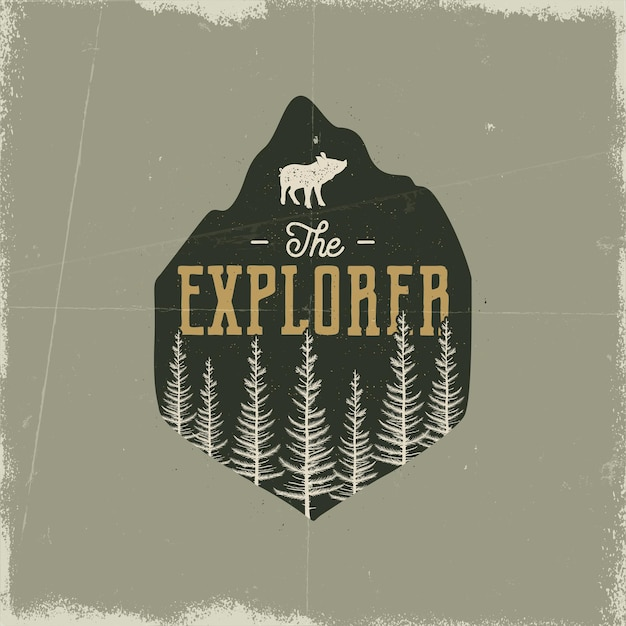 Camping wildlife badge. the explorer logo. mountain adventure emblem in silhouette retro style. featuring pine forest, pig and text. travel patch. stock vector hiking label isolated grunge background.