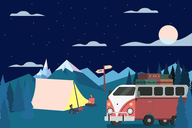 Кемпинг с караваном ночью
