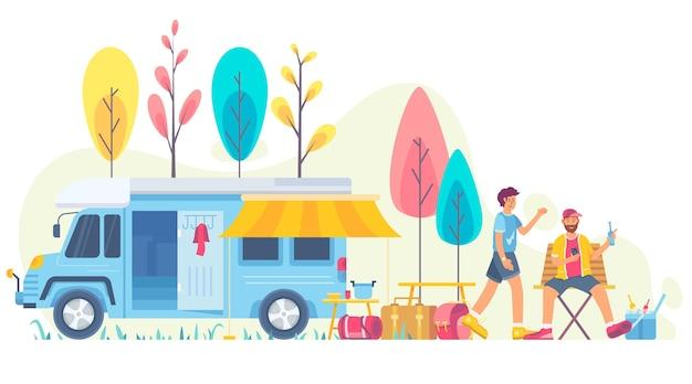 Кемпинг с иллюстрацией каравана с персонажами