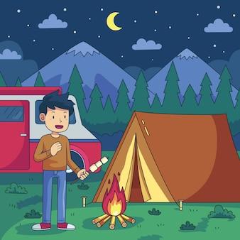 キャラバンイラストでキャンプ