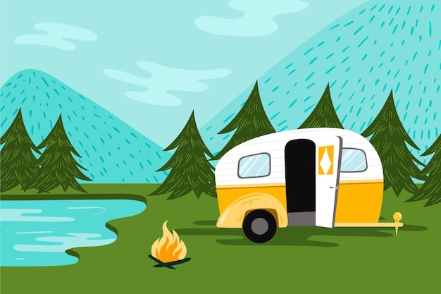 キャラバンでキャンプ