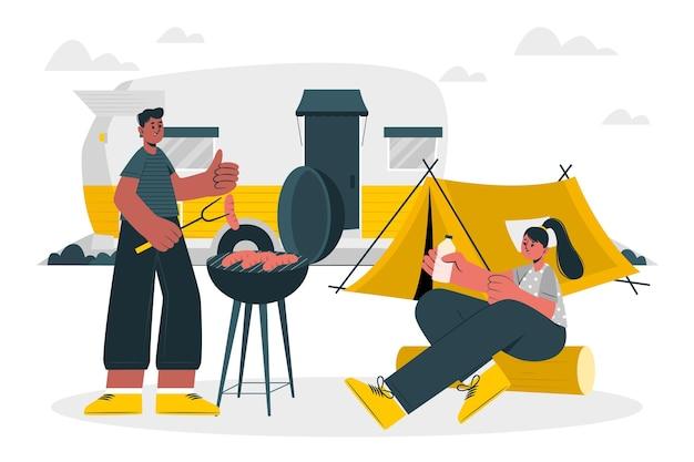 Campeggio con un'illustrazione di concetto di roulotte