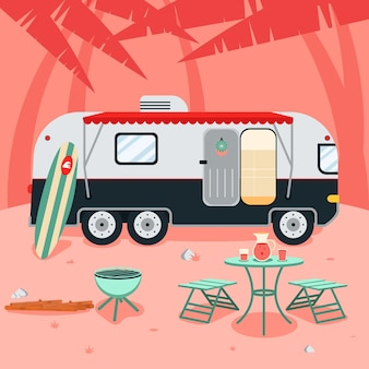 Camping with a caravan concept
