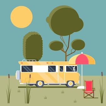 Camping with a caravan concept