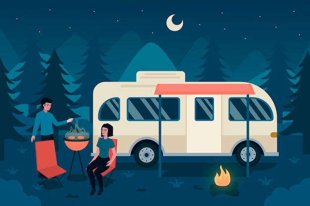 Camping with a caravan design