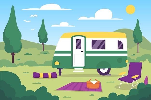 Campeggio con un'illustrazione di design piatto roulotte