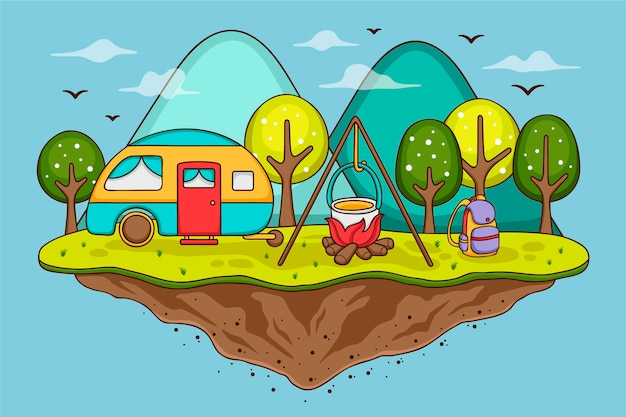 Camping with a caravan illustration concept