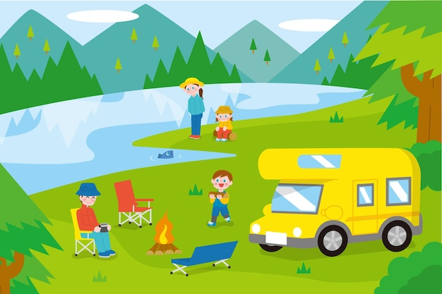 Campeggio con un'illustrazione di roulotte con la famiglia