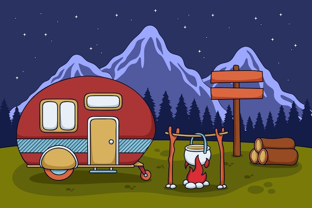 Camping with a caravan illustration with fireplace