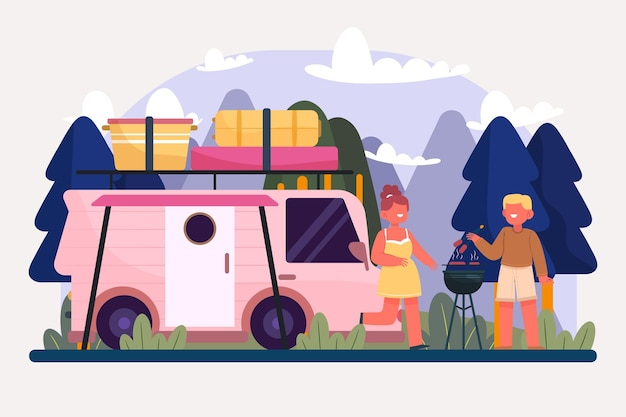 Camping with a caravan illustration with people