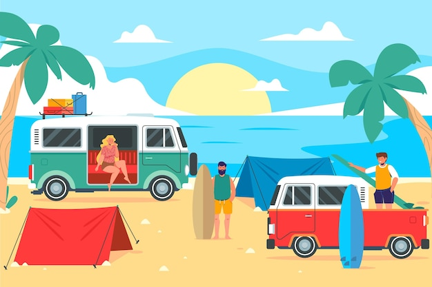 Campeggio con un'illustrazione di roulotte con le persone