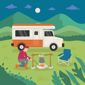 Camping with a caravan and man