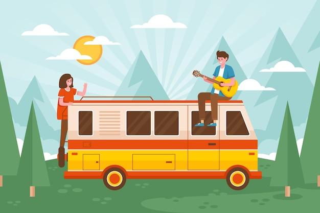 Campeggio con una roulotte