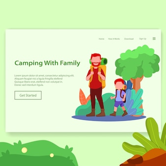 Camping with family illustration landing page
