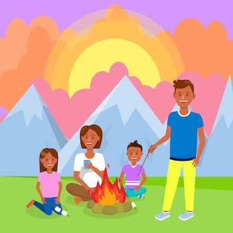 Camping with family in mountains vector drawing.
