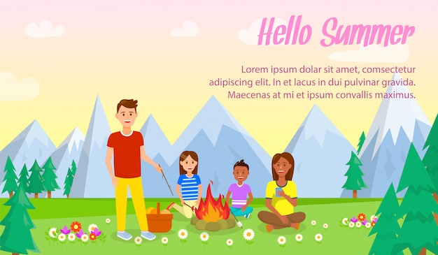 Camping with family vector banner with text space.
