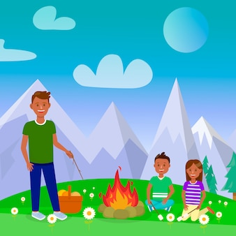 Camping with family vector square poster, postcard