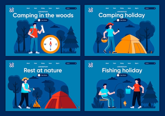Camping in the woods flat landing pages set. traveling with backpack and camping tent in forest scenes for website or cms web page. rest at nature, camping and fishing holiday illustration
