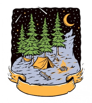 Camping in the woods at night