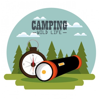 Camping zone with equipment