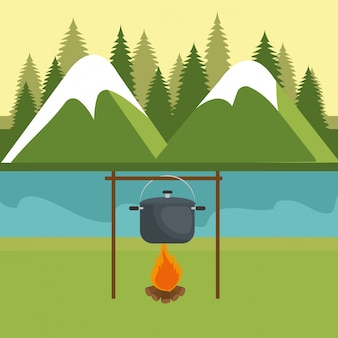 Camping zone with pot cooking and campfire