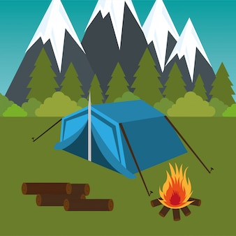 Camping zone with tent and campfire