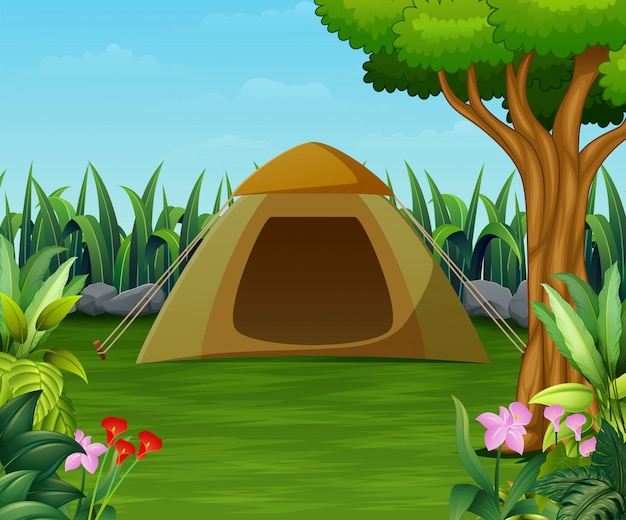 Camping zone with tent scene in the beautiful garden